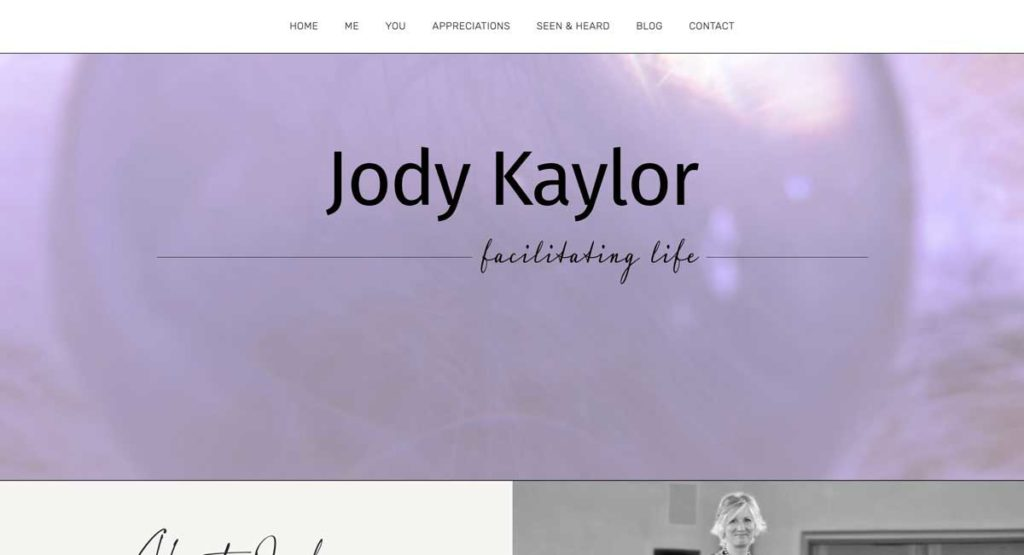 A screen shot of the top of JodyKaylor.com