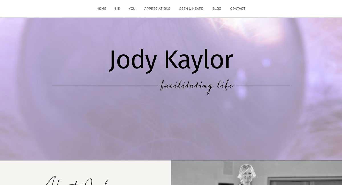 A screen shot of the top of JodyKaylor.com